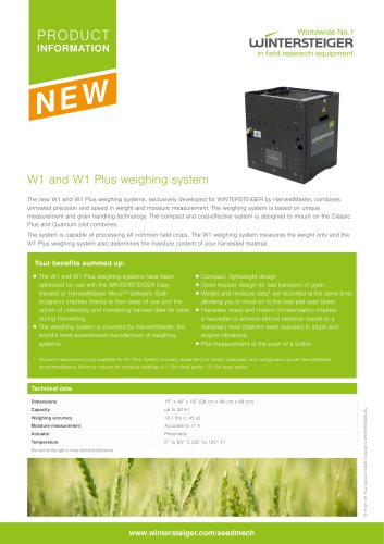 W1 and W1 Plus weighing system