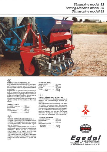 Bed sowing machine type 83