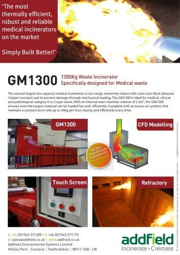 Addfield GM1300 Medical Waste Incinerator Datasheet GA PLC