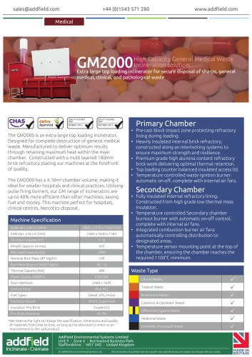 Addfield GM2000 Medical Waste Incinerator Datasheet GA PLC