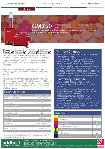 Addfield GM250 Medical Waste Incinerator Datasheet GA PLC