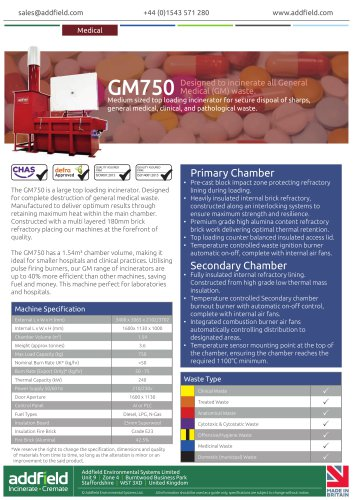 Addfield GM750 Medical Waste Incinerator Datasheet GA PLC