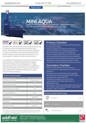 Addfield Mini AQUA Waste Incinerator Datasheet AI