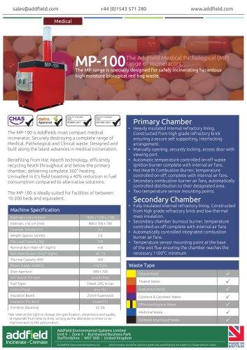 Addfield MP-100 Medical Waste Incinerator Datasheet GA AI
