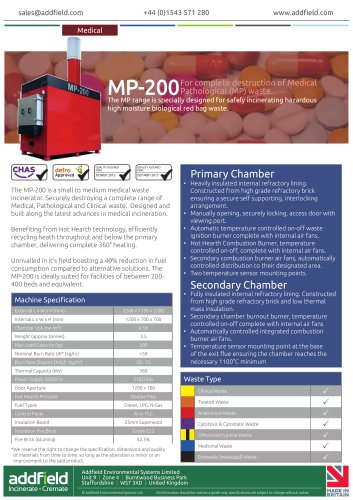 Addfield MP-200 Medical Waste Incinerator Datasheet GA AI
