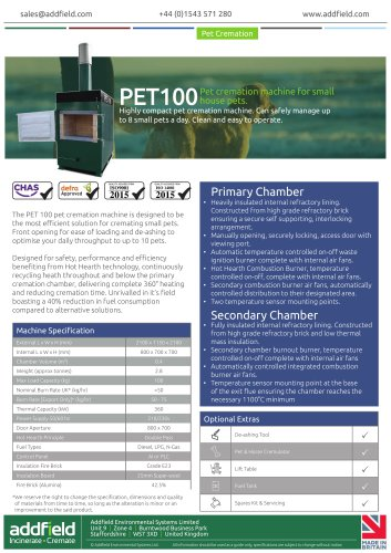 Addfield PET100 Pet Cremation Machine Datasheet AI