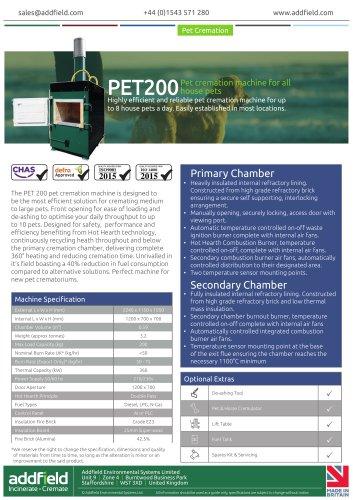 Addfield PET200 Pet Cremation Machine Datasheet AI