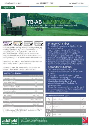 Addfield TB-AB Agricultural Incinerator Datasheet GA PLC