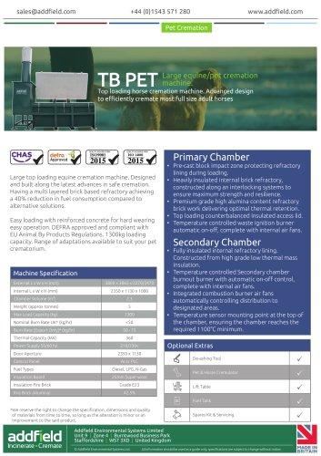 Addfield TB Equine Pet Cremation Machine Datasheets PLC