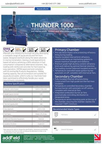 Addifeld Thunder 1000 Aquacultural Waste Incinerator Datasheet AI