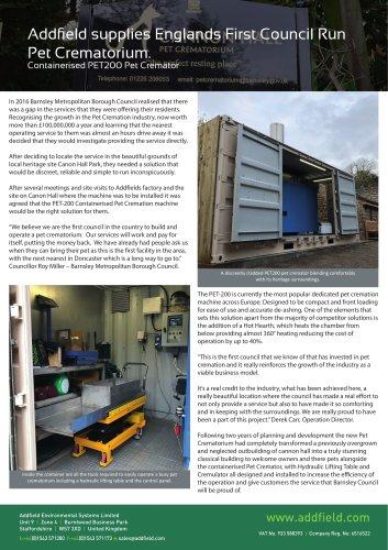 Barnsley Pet Crematorium PET200 Case Study