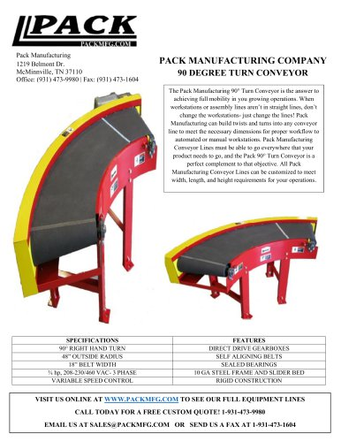 PACK MANUFACTURING COMPANY 90 DEGREE TURN CONVEYOR