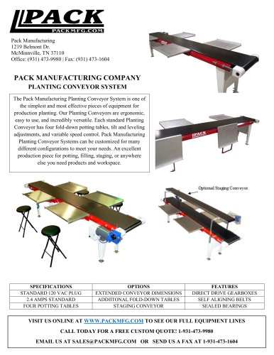 PACK MANUFACTURING COMPANY PLANTING CONVEYOR SYSTEM