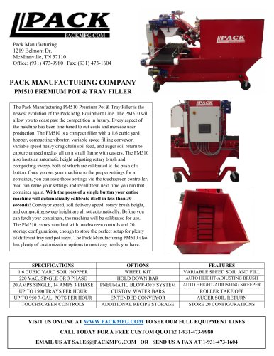 PM510 PREMIUM POT & TRAY FILLER