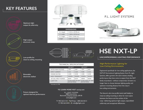 HSE NXT-LP UNCOMPROMISING LIGHTING PERFORMANCE