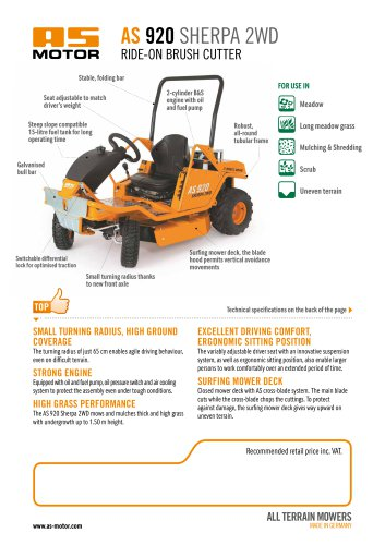 AS 920 Sherpa 2WD Ride-on Mower