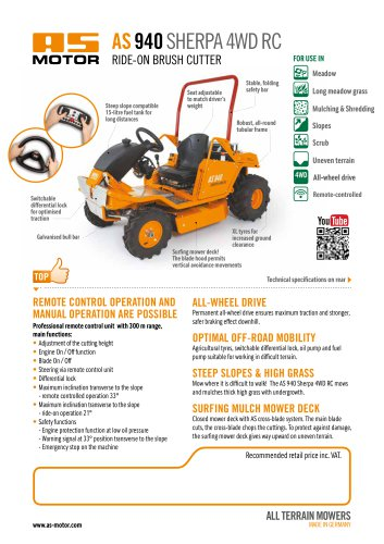 AS 940 Sherpa 4WD RC Ride-on Mower