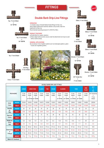 Double barbe Fittings