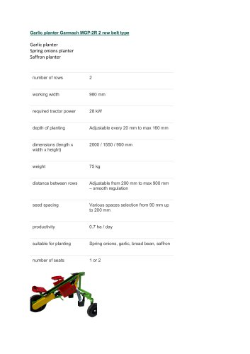 Garlic planter Garmach MGP-2R belt type