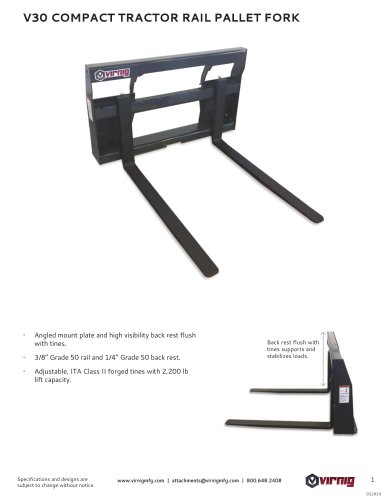 V30 COMPACT TRACTOR RAIL PALLET FORK