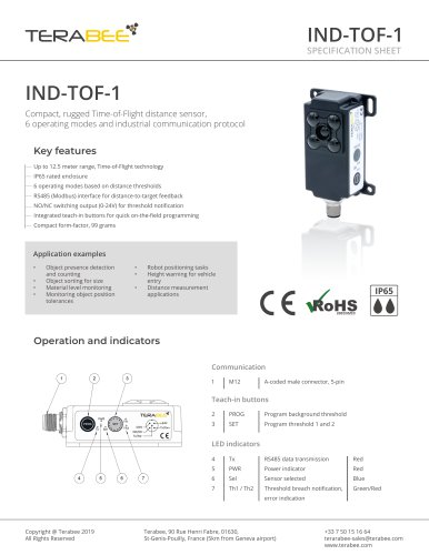 Terabee IND-TOF-1 - Specification Sheet
