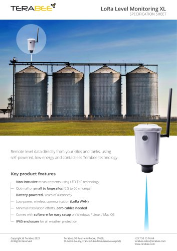 Terabee LoRa Level Monitoring XL - Specification Sheet